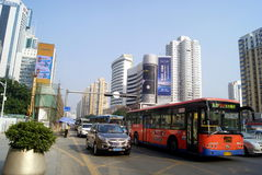 Shenzhen, china: traffic and building shennan avenue Royalty Free Stock Photo