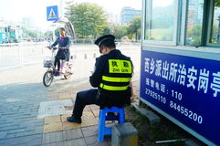 Shenzhen, China: Traffic police on duty Stock Images