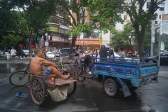 Shenzhen, China: Tricycle waiting for business Royalty Free Stock Images
