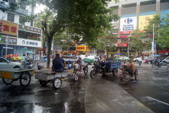 Shenzhen, China: Tricycle waiting for business Stock Photo