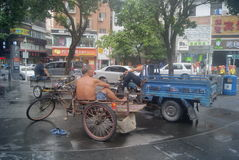 Shenzhen, China: Tricycle waiting for business Royalty Free Stock Photo