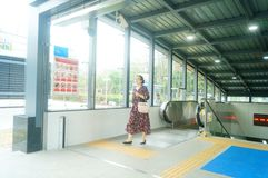 Shenzhen, China: U-Bahn-Linie 11, Baoan-Station Lizenzfreie Stockfotos