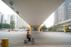 Shenzhen, China: under the viaduct of the city road traffic Royalty Free Stock Photos