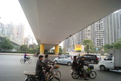 Shenzhen, China: under the viaduct of the city road traffic Stock Photography