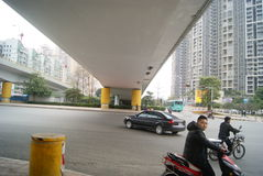 Shenzhen, China: under the viaduct of the city road traffic Royalty Free Stock Image