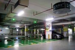 Shenzhen china: underground parking. In July 7th, 2013, underground parking Shenzhen Xixiang Tianhong shopping mall Stock Photos