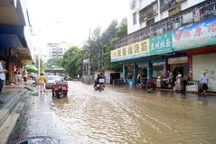 Shenzhen china: underground water pipes burst, water flow into the river Stock Image