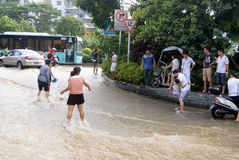 Shenzhen china: underground water pipes burst, water flow into the river Stock Photos