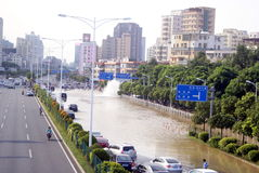 Shenzhen china: underground water pipes burst, water flow into the river Royalty Free Stock Photos