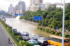 Shenzhen china: underground water pipes burst, water flow into the river Stock Photography
