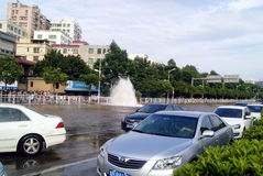 Shenzhen china: underground water pipes burst, water flow into the river Stock Images