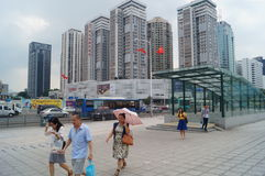 Shenzhen, China: urban construction and traffic landscape. Shenzhen Grand Theatre square and urban construction and traffic landscape Royalty Free Stock Image