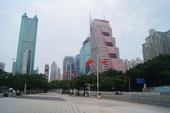 Shenzhen, China: urban construction and traffic landscape. Shenzhen Grand Theatre square and urban construction and traffic landscape Royalty Free Stock Images