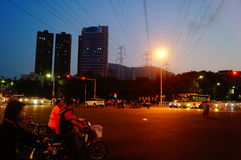 Shenzhen, China: urban street landscape at night. Shenzhen nanshan south new road, the city street landscape at night Royalty Free Stock Photos