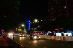 Shenzhen, China: urban street landscape at night Royalty Free Stock Photo