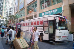 Shenzhen, China: vehicle and blood donation activities Royalty Free Stock Images