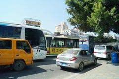Shenzhen, China: verursachte Staus des Verkehrsunfalls Lizenzfreie Stockfotografie