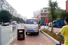 Shenzhen, china: violation of traffic rules and parking. Shenzhen Baoan, sidewalks, parking violation of traffic rules Stock Photography