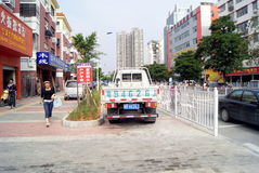 Shenzhen, china: violation of traffic rules and parking. Shenzhen Baoan, sidewalks, parking violation of traffic rules Stock Photos