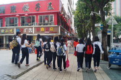 Shenzhen, China: vocational and technical school students after school Royalty Free Stock Photos