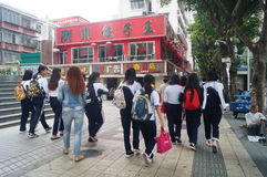 Shenzhen, China: vocational and technical school students after school Royalty Free Stock Images
