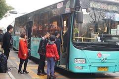 Shenzhen, China: waiting for the bus Stock Photo