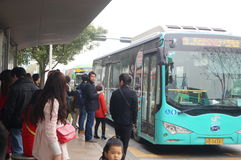 Shenzhen, China: waiting for the bus Royalty Free Stock Photo