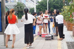 Shenzhen, China: waiting for the bus Stock Photography