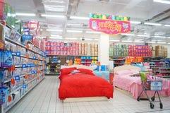 Shenzhen, China: WAL-MART supermarket interior landscape Royalty Free Stock Images