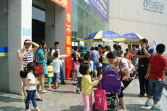 Shenzhen, China: watch the movie with parents and children Stock Photo