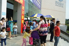 Shenzhen, China: watch the movie with parents and children Stock Image