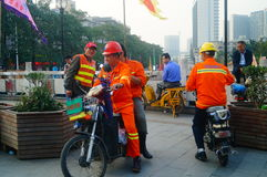 Shenzhen, China: water construction workers Royalty Free Stock Images