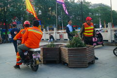 Shenzhen, China: water construction workers Royalty Free Stock Photos
