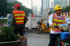Shenzhen, China: water construction workers Stock Photo