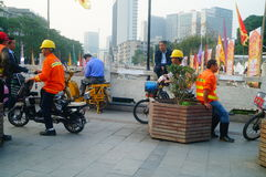 Shenzhen, China: water construction workers Stock Photos