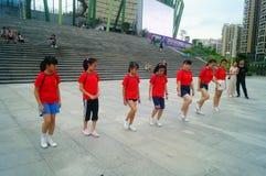 Shenzhen, China: Weekend entertainment, women dance and relax Stock Photo