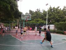 Shenzhen, China: weekend, office workers are playing basketball fitness Stock Images