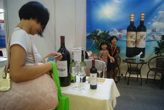 Shenzhen, China: Wine exhibition sales Stock Images