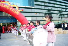 Shenzhen china: the woman drum team Royalty Free Stock Photo