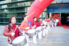 Shenzhen china: the woman drum team Royalty Free Stock Images