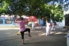 Shenzhen, China: women in the fan dance Stock Photo