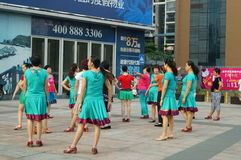 Shenzhen, China: women in the jump Square Dance Royalty Free Stock Photo