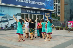 Shenzhen, China: women in the jump Square Dance Royalty Free Stock Photography