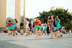 Shenzhen, China: women in the jump Square Dance Stock Photo