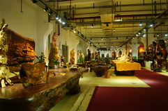Shenzhen, China: wood carving crafts exhibition sales Royalty Free Stock Photography