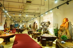 Shenzhen, China: wood carving crafts exhibition sales Royalty Free Stock Photos