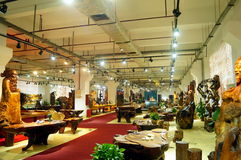 Shenzhen, China: wood carving crafts exhibition sales Stock Photo