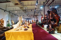 Shenzhen, China: wood carving crafts exhibition sales Stock Photography