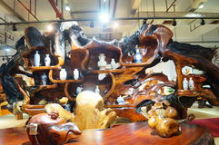 Shenzhen, China: wood carving crafts exhibition sales Stock Image