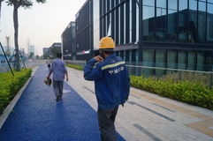 Shenzhen, China: work of workers in the qianhai free trade area Stock Image
